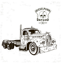 diesel punk hot rod truck2 isolated arts vector image