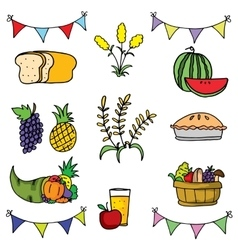 Doodle of thanksgiving collection set vector