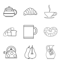 eating for tea icons set outline style vector image