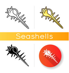 Exotic spiked sea shell icon vector