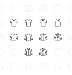 Fashion clothes icons 2 pixel stroke 60x60 vector