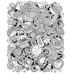 fastfood hand drawn doodles vector image