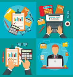 financial accounting banner set flat style vector image