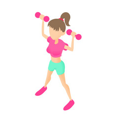 Fitness girl with dumbbells icon cartoon style vector image