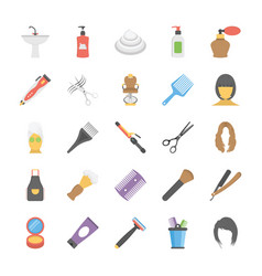 Flat icons set of hair salon accessories vector