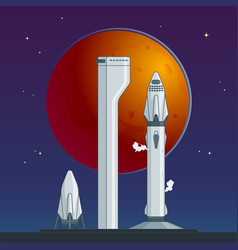 Flat rocket and spaceship concept vector