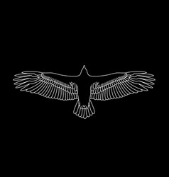 flying eagle stencil bird drawing on black vector image