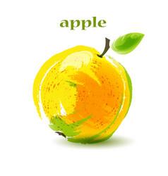 Fresh ripe apple on white background vector