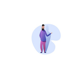 funny guy standing pose smiling man in casual vector image