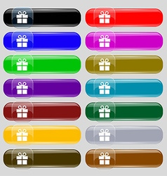 Gift box icon sign Set from fourteen multi-colored vector