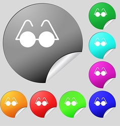 Glasses icon sign Set of eight multi colored round vector image