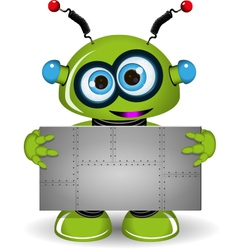 Green Robot with a Metal Background vector image