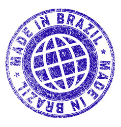 grunge textured made in brazil stamp seal vector image
