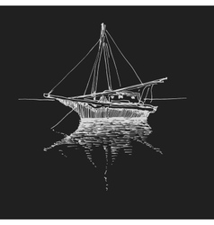 Hand drawn boat landscape eps8 vector image