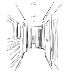 Hand drawn hall sketch in the office or hotel vector