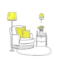 Hand drawn room interior vector image