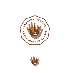 Hand roasted brown transparent palms coffee bean vector