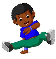 happy boy dancing vector image