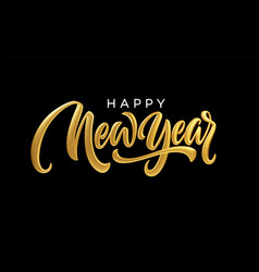 happy new year realistic golden metal lettering vector image