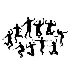 Happy people silhouettes vector