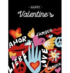 Happy Valentines day retro design with decoration vector
