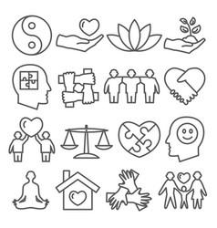 harmony line icons set on white background vector image