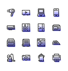 household appliances icons are flat vector image