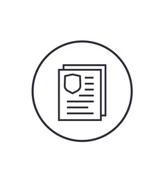 Insurance policy document icon linear on white vector