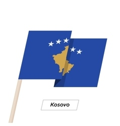 Kosovo Ribbon Waving Flag Isolated on White vector