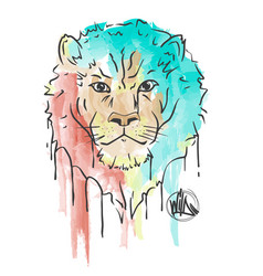 lion hand painted watercolor isolated on white vector image