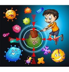 Little boy fighting bacteria vector