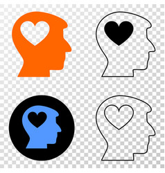 lovely heart man head eps icon with contour vector image