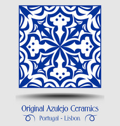 majolica pottery tile blue and white azulejo vector image