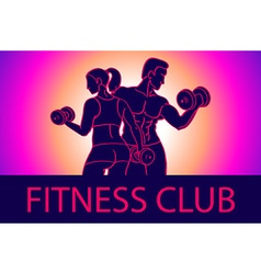 Man and woman Fitness template Gym club logotype vector
