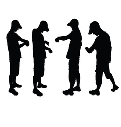 Man look on watch silhouette vector