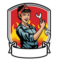 mechanic women design vector image