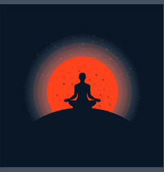 meditation background with sunset vector image