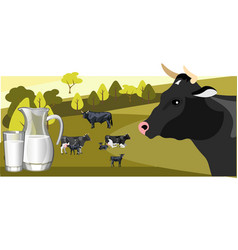 milk and dairy on a background of green lawn and vector image