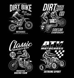 Motocross graphic t-shirts collection vector