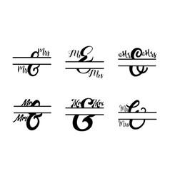 Mr and mrs monogram split letter initial set vector