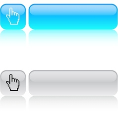 Pixel hand square button vector image