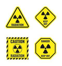 Radiation risk icon set radioactive hazard signs vector