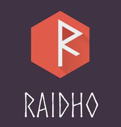 Raidho rune of elder futhark in trend flat style vector