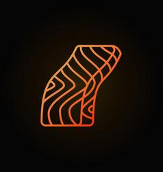 Red fish steak orange line icon on dark vector