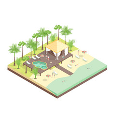 rest house concept 3d isometric view vector image