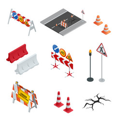 Road repair under construction road signs flat vector