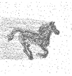 Running Horse Made Of Particles Dotted Background vector