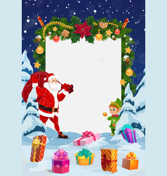 santa with christmas gifts red bag and elf vector image