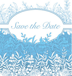 save the date wedding card blues flowers vector image