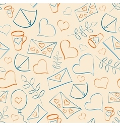 Seamless pattern with hearts and post vector image